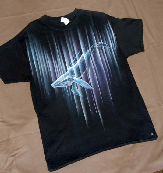whale refraction hand painted  tshirt