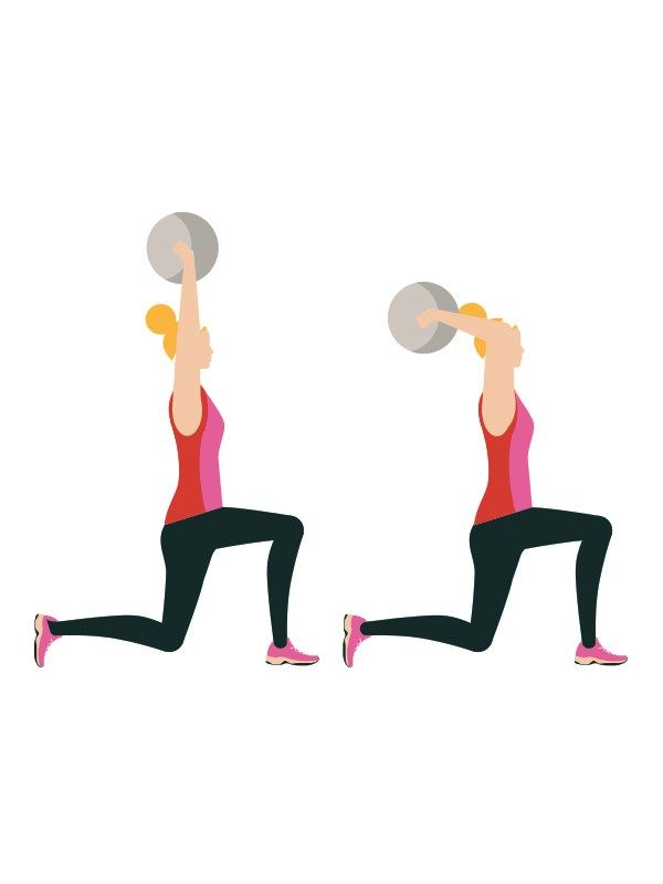 Walking lunge with medicine ball: 4 sets of 20 reps  Advanced workout routine - From standing, step forward with one foot, dropping your hips towards the floor and bending both knees – don't bend your front leg more than 90°. Push up, step forward with your back foot and repeat. Every time you lunge, raise the ball above your head.  Click to read the full workout on You & Your Wedding's website.