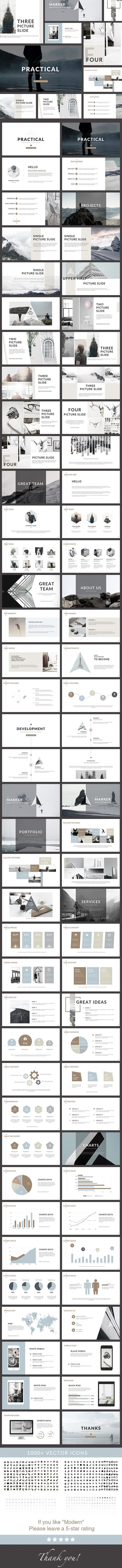 Practical - Clean PowerPoint Presentation - Creative PowerPoint Templates  제품설명, 이미지 위주로 보여줌