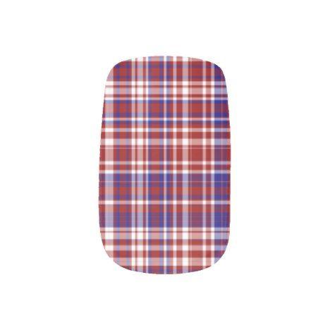 PlaidRed White Blue 01-Minx Nails Minx Nail Art