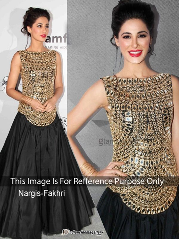 Nargis Fakri Nice Black Color Velvet Bollywood Suit with Black Color Silk Bottom With Santoon Inner.It contained the work of Mirror with Lace border.The Salwar Suits Which can be customzied up to bust size 42