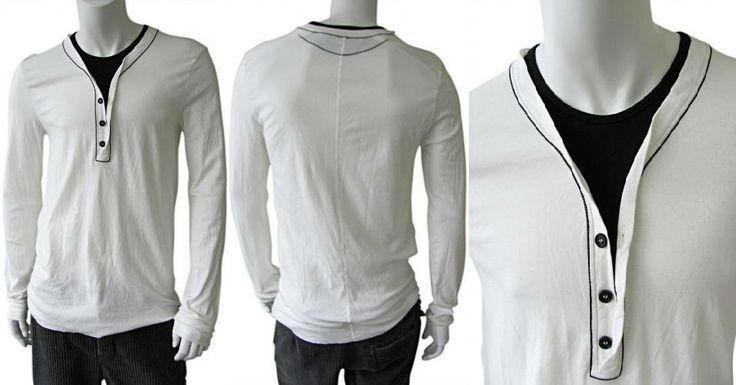 White long sleeve cotton polo t-shirt, O-neck with black small buttons, black edges, ribbed cuffs, regular fit on sale. #Men #Clothing #Fashion