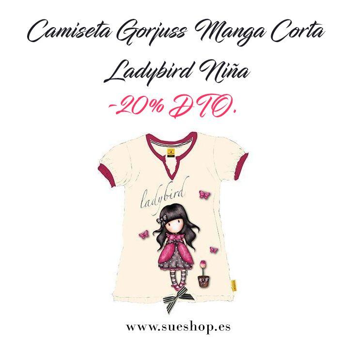 """La Camiseta Gorjuss Manga Corta """" Ladybird"""" Niña quedará perfecta con faldas, leggings o pantalones!!De manga corta, cuello acabado en pico y con un bonito lazo de rayas satinado en blanco y beig en el bajo de la camiseta. @sueshop_es #gorjuss #santorolondon #camiseta #textil #ropa #niña #verano #rebajas #oferta #descuento #sueshop"""