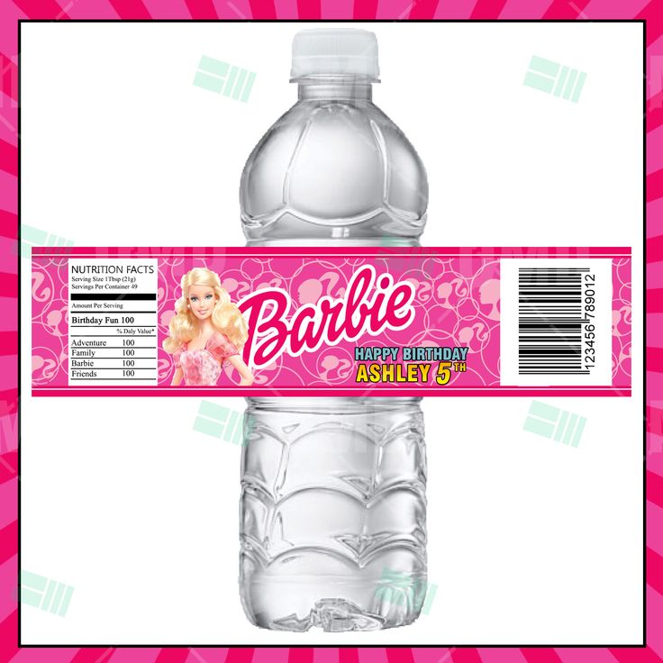 Barbie Cartoon Party Bottle Labels