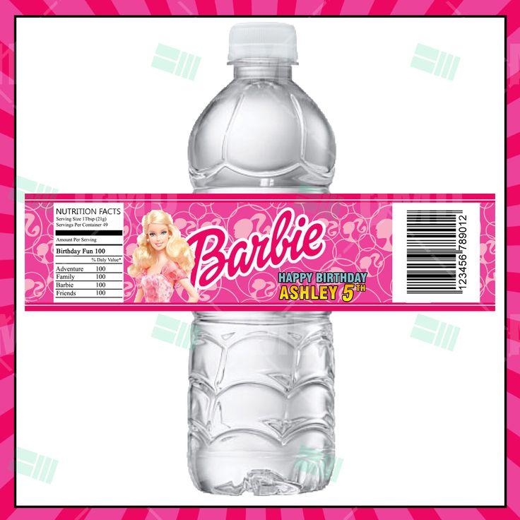 Barbie Cartoon Party Bottle Labels