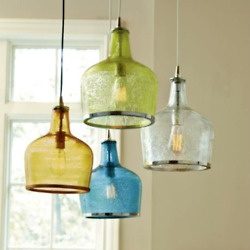 Coloured pendant lights - would need to source similar - idea for above the dining table