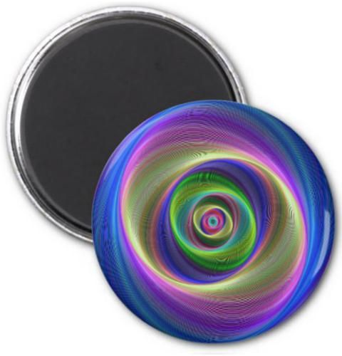 Lost in Infinity 2 Inch Round Magnet $3.85 *** Colorful abstract geometric spiral design *** lost - infinity - spiral - swirl - twirl - vortex - smooth - cyclone - storm - rotation - fractal - abstract - button magnet