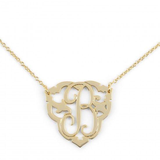 Ornate Initial Pendant Necklace   C. Wonder