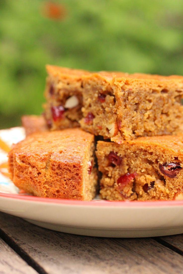 Blondie amandes et canneberges - Cranberries and almond blondies
