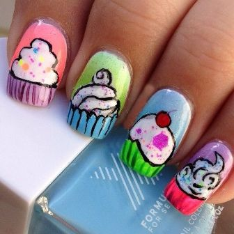 Cup Cakes and Ice Creams Nail Art