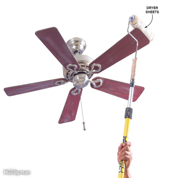 Unless you play in the NBA, dusting ceiling fans and other high, out-of-reach objects is a real chore. Wrap a dryer sheet around a clean painting roller and secure the ends with rubber bands. Attach an extension handle to the roller and dust away.