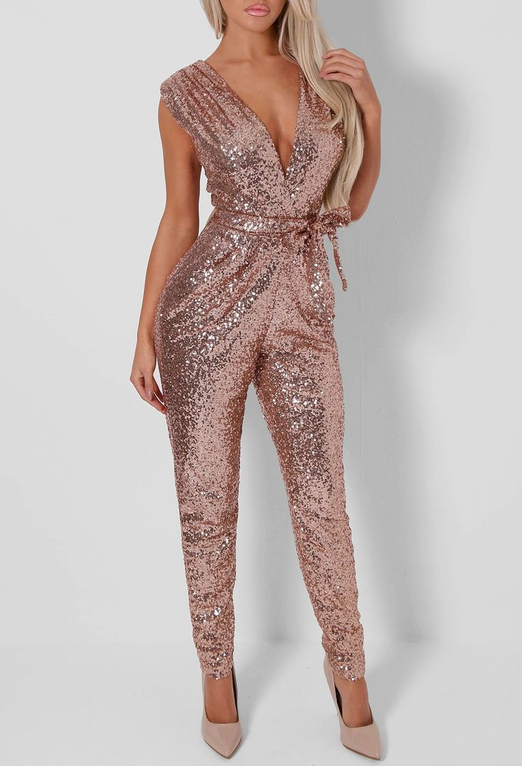 Lulu Rose Gold Sequin Jumpsuit https://bellanblue.com/collections/new