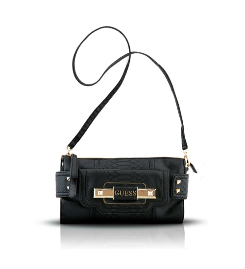 Guess Black Snake Crossbody Bag on glamouronthego.co.uk