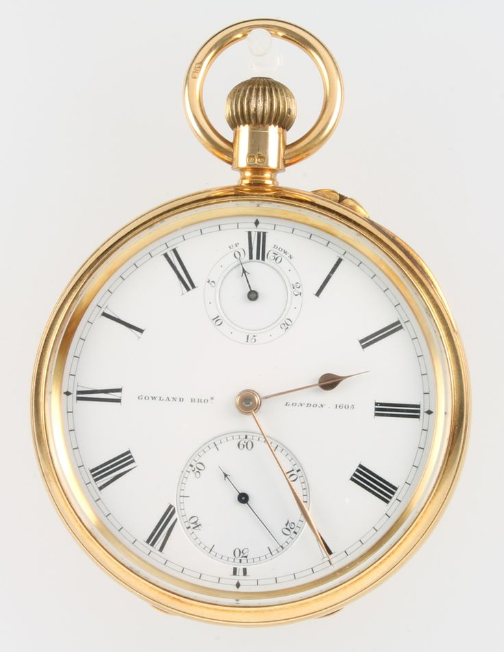 LOT 682 An 18ct yellow gold pocket watch with mechanical movement, calendar and seconds dials, inscribed Gowland Bros. London. 1605, the movement engraved Gowland Bros 48.Cornhill.London. the movement stamped 1605, SOLD £1150