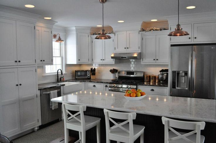 Best White Cabinets Black Island Copper Lights White Subway 400 x 300