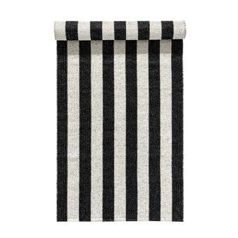 This Woods rug in black from Nordic Nest comes with classic stripes lengthwise. The pattern is inspired by the dramatic long cast shadows from the woods at dusk. The rug is of the highest quality made in Sweden. Woods is a classic plastic rug in a modern black and white design suitable for the kitchen as well as the entrance hall.