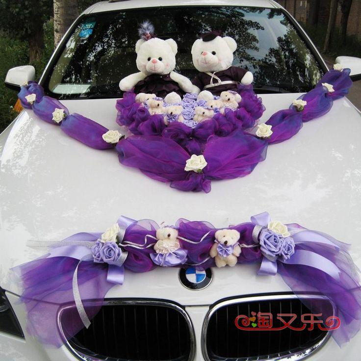 Creativo Wedding Teddy auto paio orso matrimonio decorata targa fiore decorazione floreale auto Winnie the impostare la voce davanti-$81