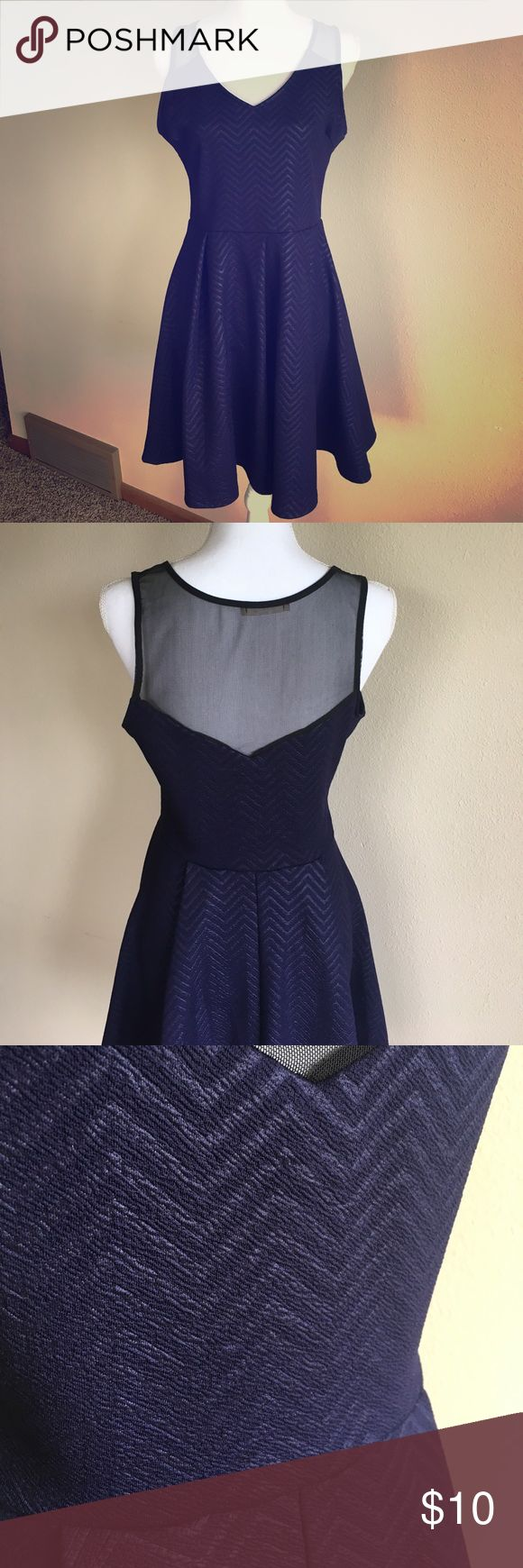 Navy Blue Cocktail Dress Navy blue chevron dress with cute mesh back and pleated skirt. Like new condition Lush Dresses