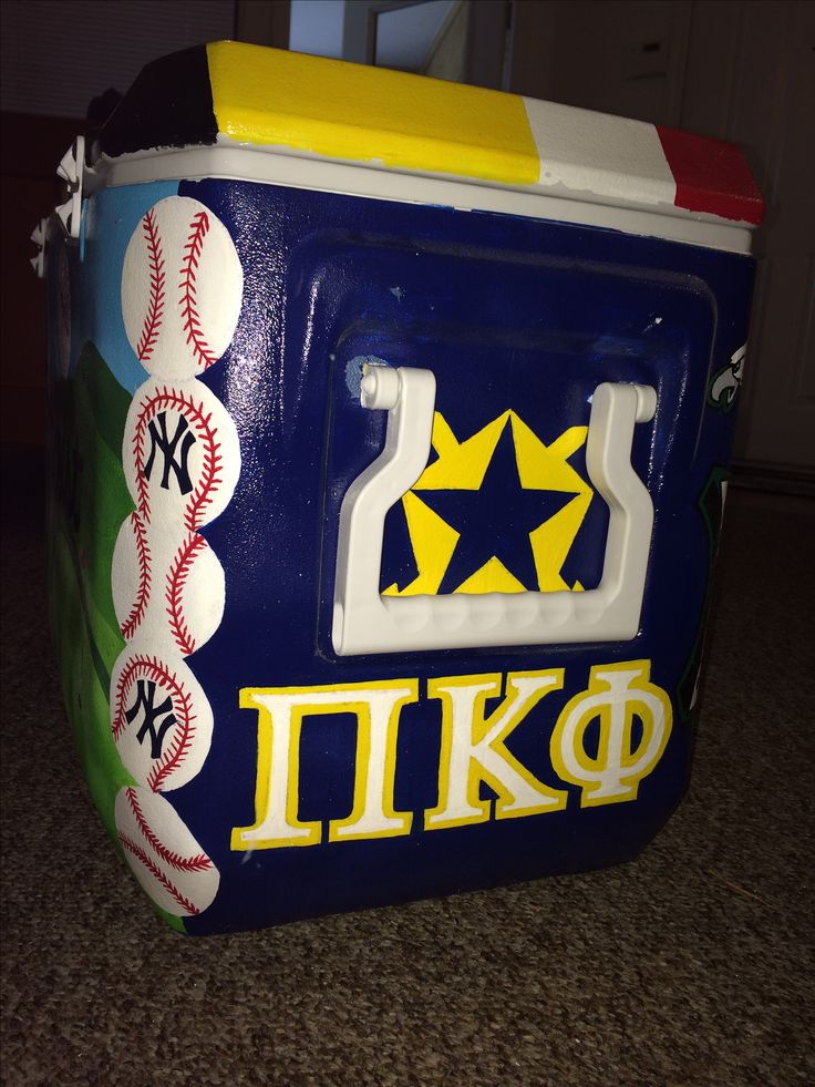 Painted cooler, Pi kappa phi cooler, ideas, painted baseballs, New York Yankees,