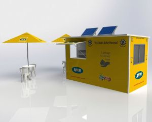 These kiosks are solar-powered and come flat-packed for easy transport. Dimensions: 4m in length and 2m wide.  The unit is manufactured from moulded UV-protected fibreglass with a gel coat colour of your choice. The graphics are in wrap format. These units can be equipped with solar power solutions such as internal light and a charging bay, as well as a water harvesting unit. As an optional extra, electrical fittings can be added for off-grid main or solar power solutions.
