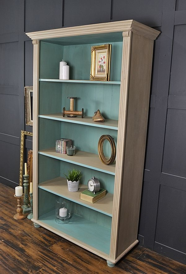 Shabby Chic Pine Bookcase with Bun Feet artwork                              …