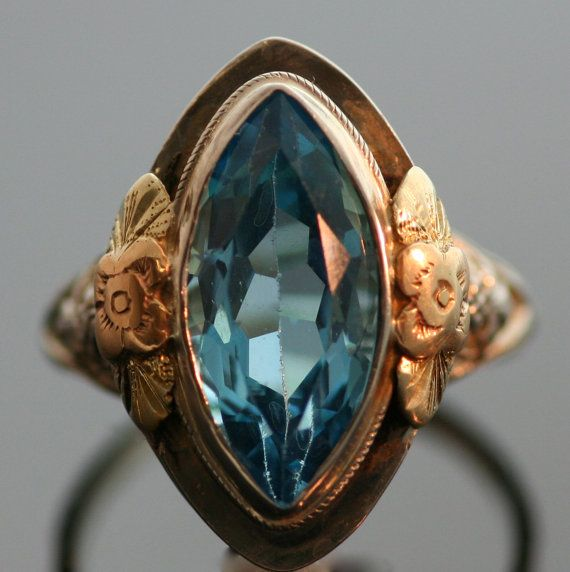 Antique Blue Topaz Ring by SITFineJewelry on Etsy, $1250.00