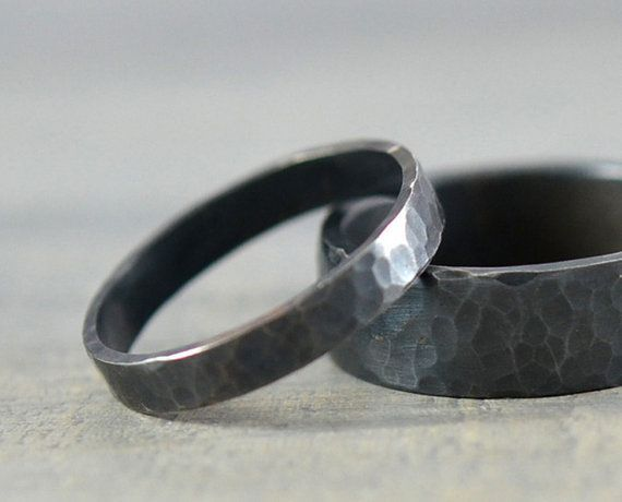 His And Hers Wedding Rings Black Hammered By Gioielli Designs