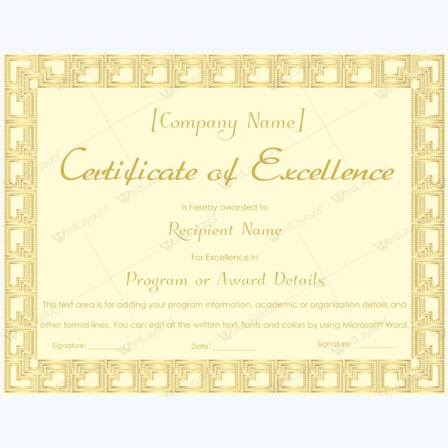 16 best Certificate of Excellence templates images on Pinterest - business certificates templates