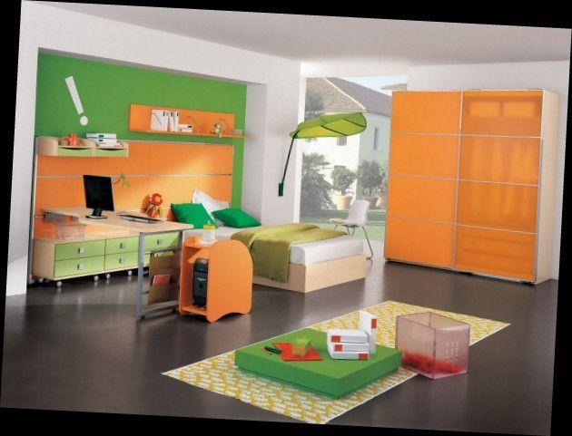 Детская в оранжево--зеленых тонах