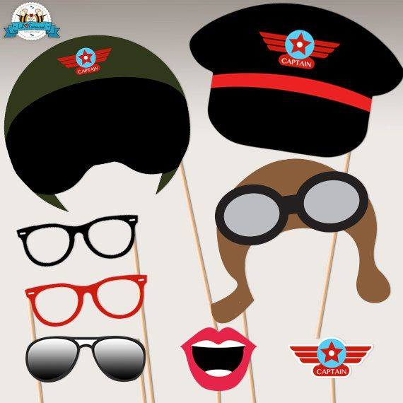Airplane Birthday Party Aviator Photo Booth by LilFacesPrintables, $6.00