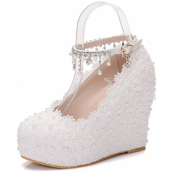 Wedges Pumps Heels White Lace Wedding Shoes White Wedges High Heels... ($75) ❤ liked on Polyvore featuring shoes, pumps, white pumps, bridal shoes, heel pump, white wedge shoes and lace pumps