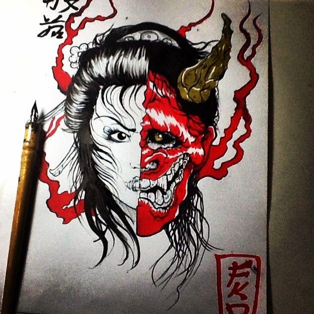 Hannya Mask Girl Tattoo