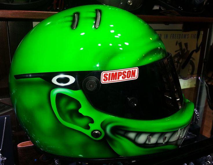 Oakley & Simpson Lumi green smiley drift, carting, motorcycle helmet www.ridersdna.com