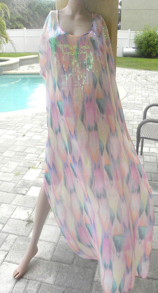 victorias secret bikini cover up bling sequins pastel pink dress s M L long  #VictoriasSecret #CoverUp