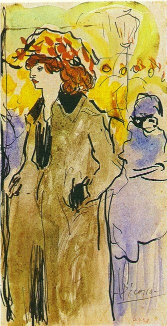 Woman on the street - Pablo Picasso - 1901 - Watercolour ...................#GT