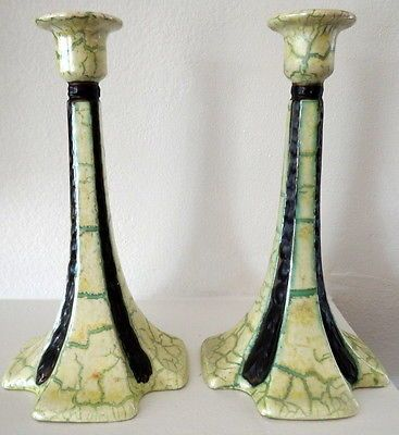 Art Deco Czech Art Pottery Ditmar Urbach Alienware Candlesticks