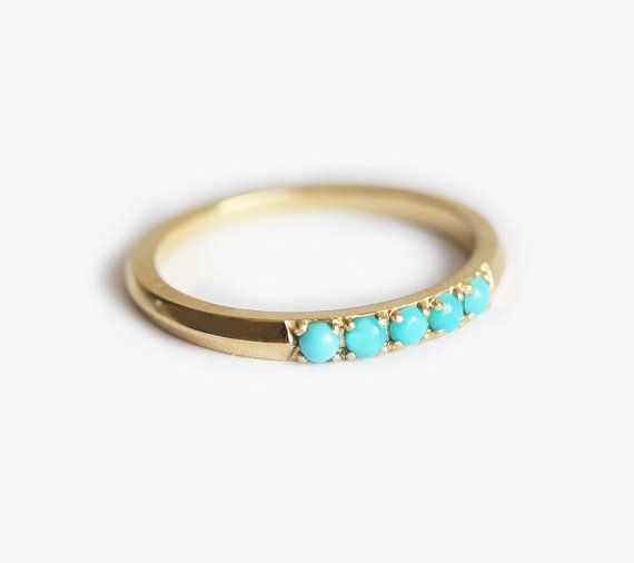 Turquoise Wedding ring Turquoise Wedding Band 18k by MinimalVS