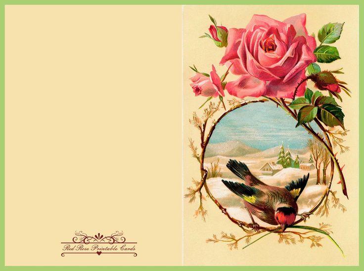Printable Vintage Greeting Card Roses Carto De