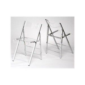 Lucite Folding Side Chairs (Set of 2) Finish: Green