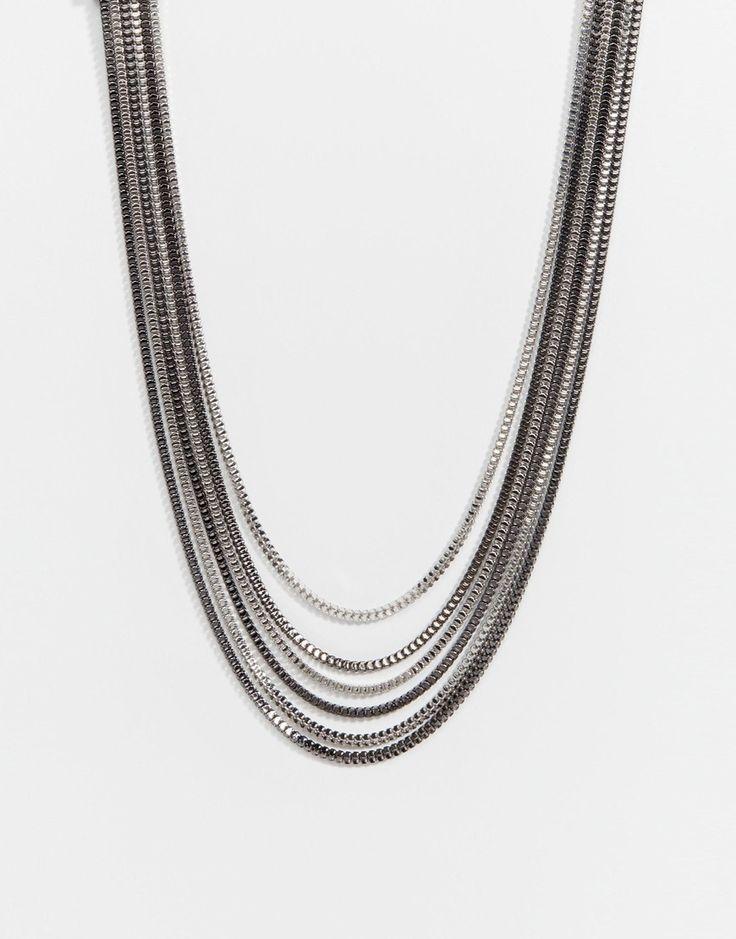 Halskette von Lipsy silberfarbene Optik breite, mehrreihige Ketten verstellbare Kettenlänge Karabinerverschluss Kontakt mit Flüssigkeiten vermeiden 70% Zink, 30% Messing