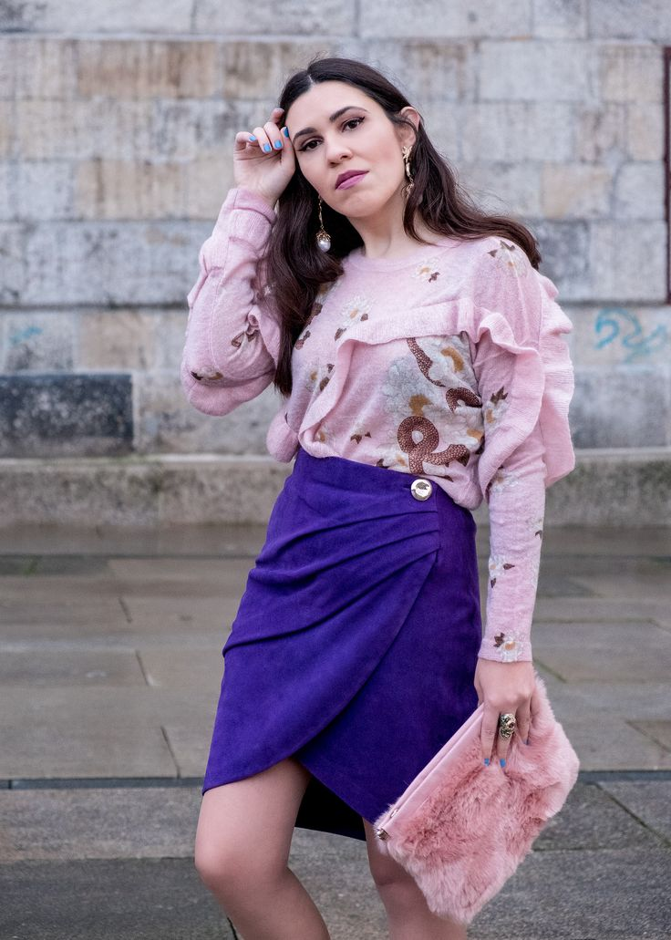 Spring trend: Ultraviolet -  #Adidas #boldearrings #button #clutch #Earrings #FauxFur #Gold #goldpointed #Green #Knit #Mango #Metallic #mohair #PalePink #Pearls #Purple #Ring #RobertoCavalli #Skirt #snake #SnakePrint #Snakes #Sneakers #Stone #Suede #Sweater #ultraviolet #uterque #wrap