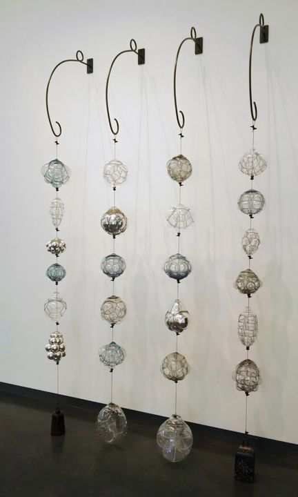 Charmed, 2015, Crocheted steel, blown glass (by artist Michael Boyd), fabricated and found steel