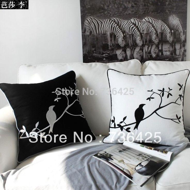 Barato Decoração 45 cm * 45 cm um conjunto de dois pássaro preto e branco bordado almofada