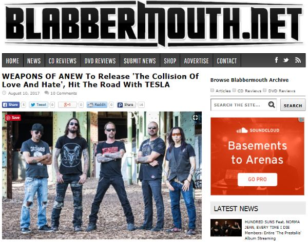 """Weapons of Anew Featured on BLABBERMOUTH - http://www.okgoodrecords.com/blog/2017/08/24/16013/ - WEAPONS OF ANEW, the new band featuringFreddy Ordine,Ray West,Stefan """"Reno"""" Cutrupi,Chris ManfreandKris Norris, will release its debut album,""""The Collision Of Love And Hate"""", on September 15 viaOK Good Records. The band has been featured on BLABBERMOUTH.NET for... - blabbermouth, blabbermouth.net, hard rock, Killshot, metal, new album, new m"""