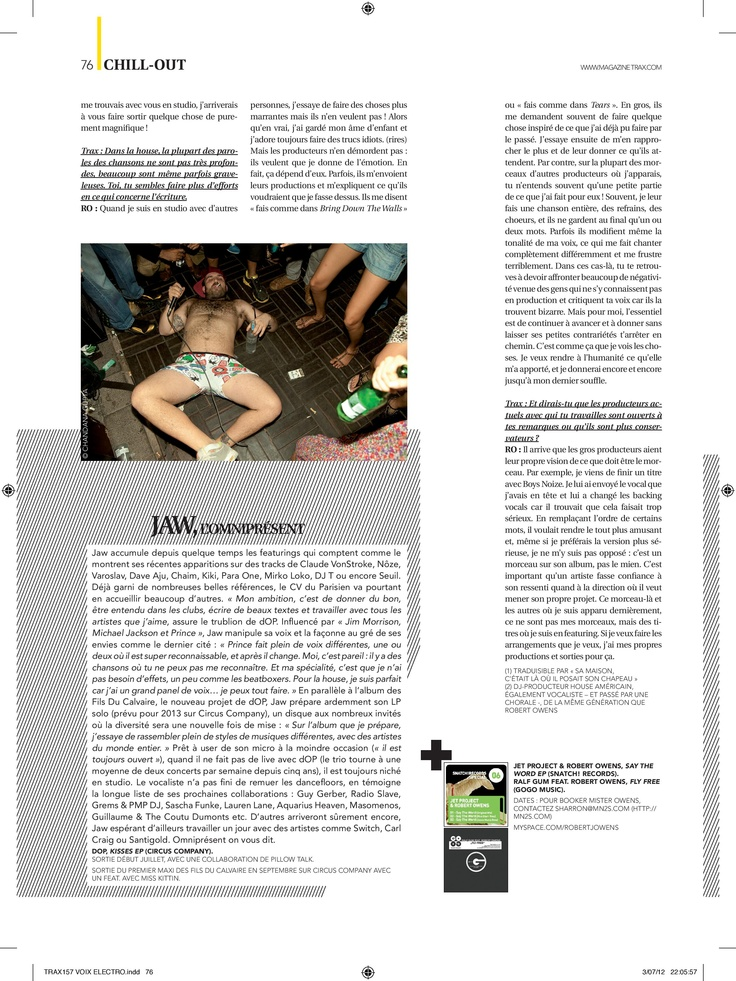 Robert Owens in TRAX Magazine (France, July 2012)