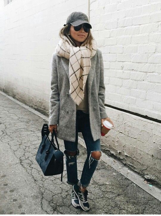 Destructed jeans, sporty sneakers, oversize scarf & blazer style coat- Sincerely Jules style