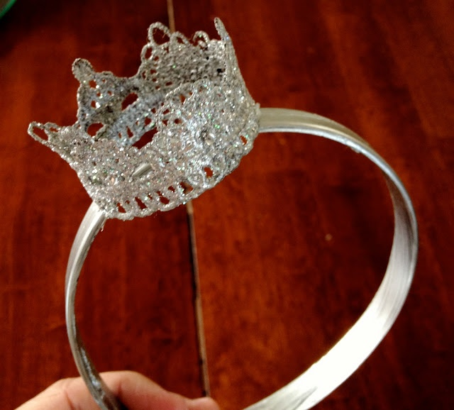 {DIY lace crown} http://anwjohnston.blogspot.com/2012/10/diy-lace-crown.html You will need: A toilet paper/paper towel roll fabric stiffener tacky glue Glitter Paint Lace Paint brush Jewels a headband