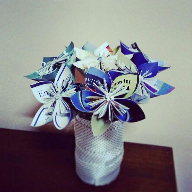Magazine flower bouquet