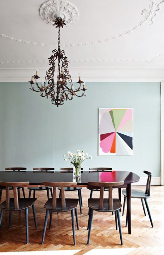 A minty fresh and stylish dining room love the gorgeous lighting and ceiling labor