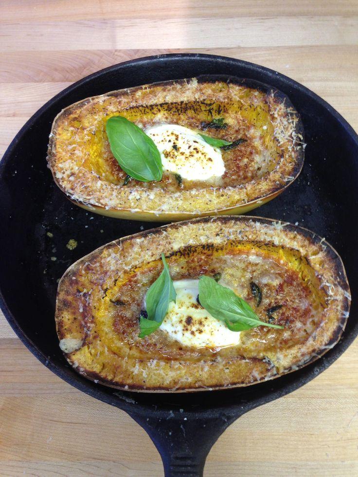 Chef Todd's wood fired spaghetti squash parmesan recipe in his Vesuvio pizza oven. A great vegetarian delight